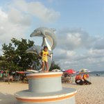  My Phuong, Dolphin statues, at the beach.