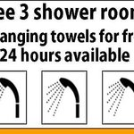 Free shower room with body soap and shampoo