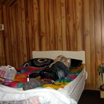 Inside of campers cabin with our own blanket & pillows
