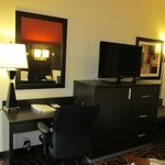 Room with Workstation, Flat Screen TV and Refrigerator