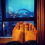 The view from our bed. Excuse the feet!