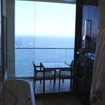 The bathroom with view to the Mediterran Sea.