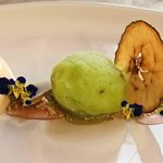 Lavender Panna Cotta with Apple sorbet