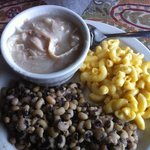  chicken and dumplings, purple hull peas, Mac and cheese.