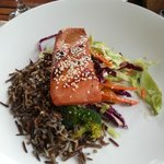 Smoked salmon with wild rice and slaw
