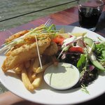  Flathead fish with chips and salads