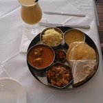  Divine Veg Lunch Thalli with Mango Lassi drink