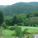 Beautiful view of Great Smoky Mountains from Pin High Bar & Grill at Maggie Valley Club!