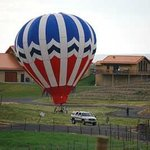 View of hot air balloon from Girasol