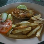  Barracuda steak with fries and salad - Very delicious!