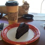  Chocolate Raspberry Cake with a cup of White Chocolate Mocha