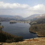 A view from Loughrigg towards the Dale Lodge Hotel on the far side of Grasmere