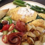 Greek Omelet, Rosemary potatoes, spanakopita, asparagus, bacon and a horiatiki Salad. mmmmmMMMM!