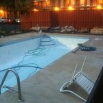  the pool and view- looks lovely by security lights!