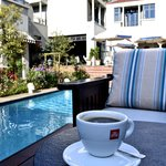 Morning Coffee at the Pool