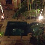 evening view of the water feature. very pretty to see on entering the Riad.