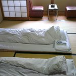 the room includes a balcony, bathroom, tv set and a kotatsu!