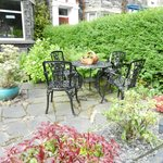 The little table in the lovely little front garden at Ferndene where we had our dinner one eveni