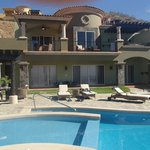 The 4 bedroom villa with 4th bedroom is separate building .  Hot tub by pool and on deck by Mast