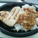 grilled chicken breast with rice and beans