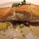 Halibut with morels entree