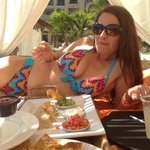My bestie in the cabana eating lunch
