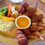 Camarones Tres Islas - breaded, coconut and bacon-wrapped shrimp