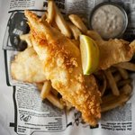 Fresh cod and chips with Kennebec fries