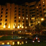  ITC Maurya by night from the pool terrace
