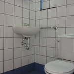  Bathroom of a standard air-conditioned room with two double beds.  Well designed and functional,