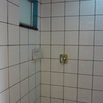 Shower of a standard air-conditioned room on the east (cul-de-sac) side.  German plumbing and qu