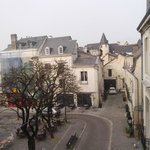 View of the square in Chinon from our room