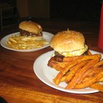 Burger with potato or sweet potato fries.