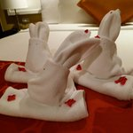 cute bunny towel designs in the room