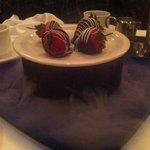 Chocolate covered strawberries over dry ice