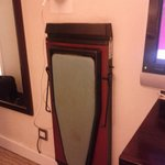  Iron and board with trouser press. No need to go looking for the ironing room!