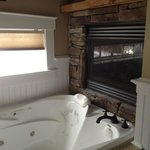 Whirlpool tub with fireplace!