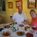 Kris and I with the dinner we prepared with Dixie