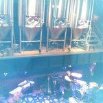 brew kettles over the stage