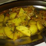  Pork steak w/ roasted garlic potatoes