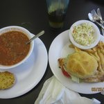 Grilled Chicken Sandwich and Conch Soup