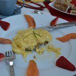 Salmon and Scrambled eggs with strawberries - wonderful