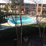  The view of the outdoor pool from our room.