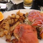 Smoked salmon & lox sandwich