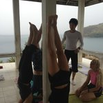 Early morning yoga in a headland