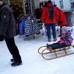 Johann taking Caroline for a sleigh ride in Seefeld after Christmas lunch at Hotel Klosterbaeu S
