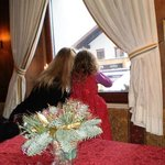 Watching the falling snow from Hotel Klosterbraeu Seefeld