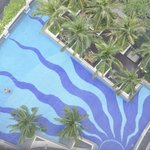 View down to the pool from our room
