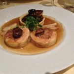  Guinea Fowl Dinode accompanied with chestnuts, lentils and fried foie gras