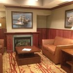 The small lobby features a maritime theme.